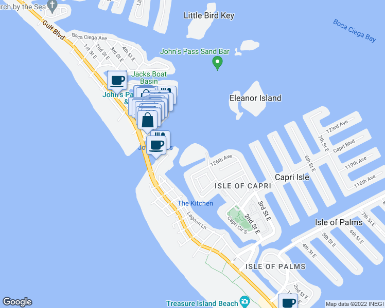 map of restaurants, bars, coffee shops, grocery stores, and more near 1 Key Capri in Treasure Island