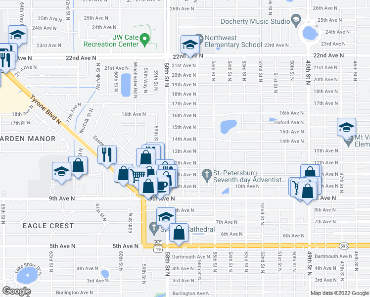 map of restaurants, bars, coffee shops, grocery stores, and more near 5659 13th Avenue North in Saint Petersburg