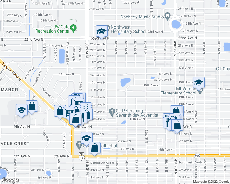 map of restaurants, bars, coffee shops, grocery stores, and more near 1350 55th Street North in St. Petersburg