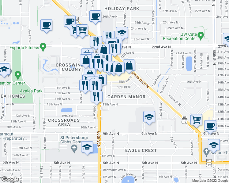map of restaurants, bars, coffee shops, grocery stores, and more near 6483 17th Terrace North in Saint Petersburg