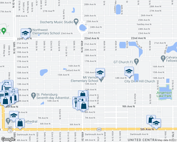 map of restaurants, bars, coffee shops, grocery stores, and more near 4801 15th Avenue North in Saint Petersburg