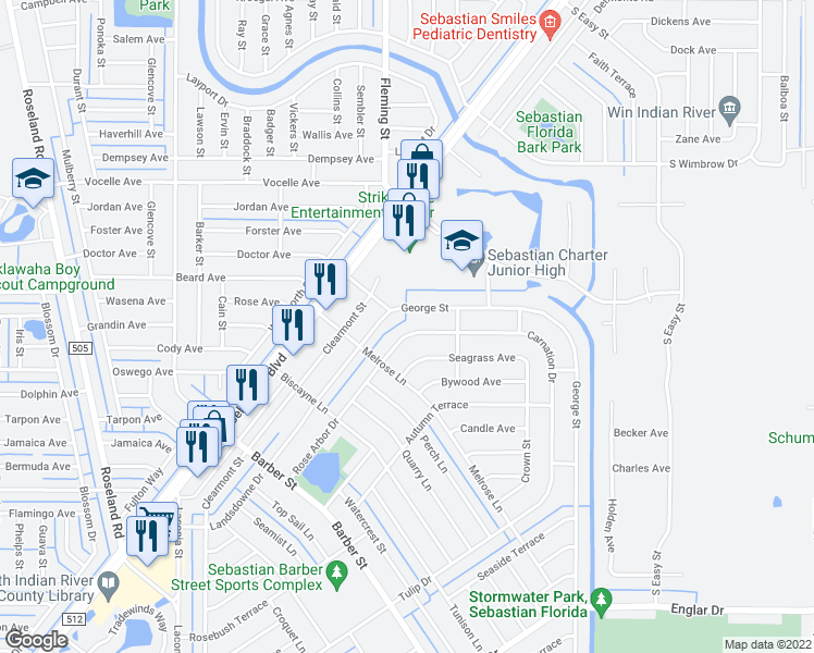map of restaurants, bars, coffee shops, grocery stores, and more near 725 Carnation Drive in Sebastian