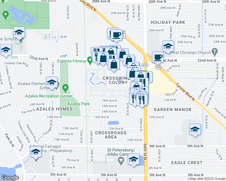 map of restaurants, bars, coffee shops, grocery stores, and more near 6756 16th Place North in St. Petersburg