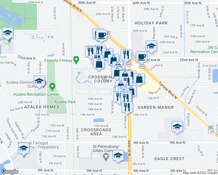 map of restaurants, bars, coffee shops, grocery stores, and more near 6705 16th Place North in Saint Petersburg