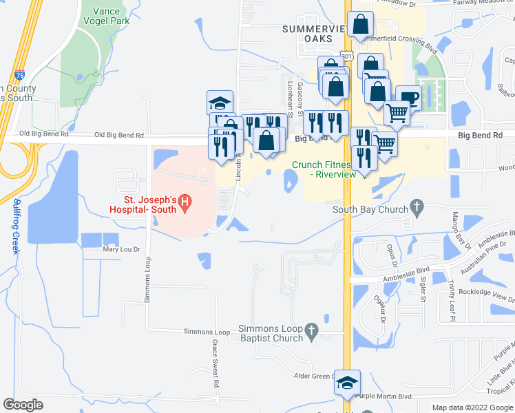 map of restaurants, bars, coffee shops, grocery stores, and more near 10220 Summer Palm Drive in Riverview
