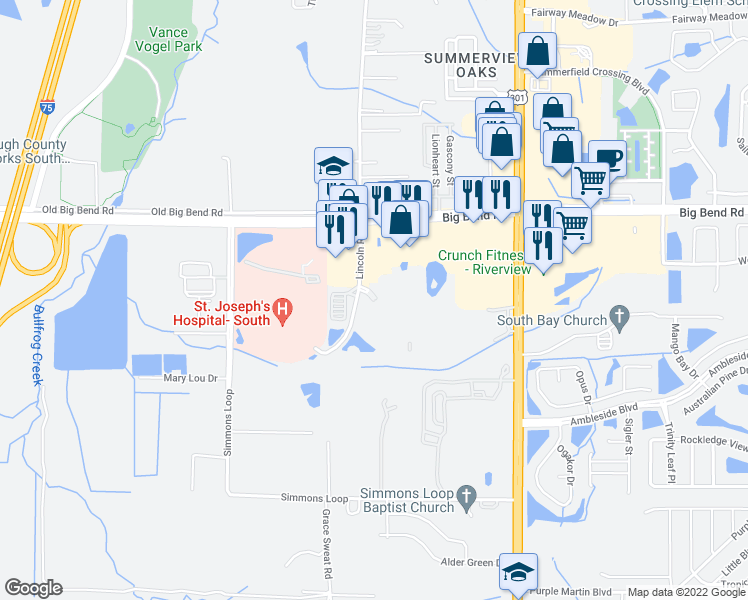 map of restaurants, bars, coffee shops, grocery stores, and more near Summer Palm Drive in Riverview