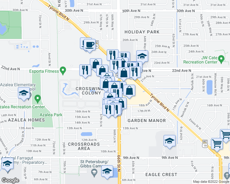 map of restaurants, bars, coffee shops, grocery stores, and more near 3221 49th Street North in St. Petersburg
