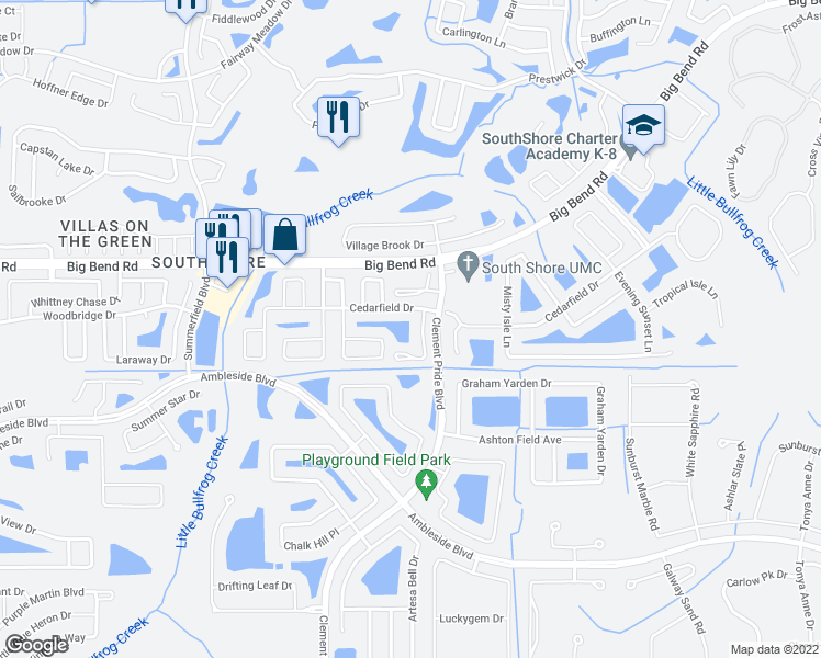 map of restaurants, bars, coffee shops, grocery stores, and more near 13315 Ashbark Court in Riverview