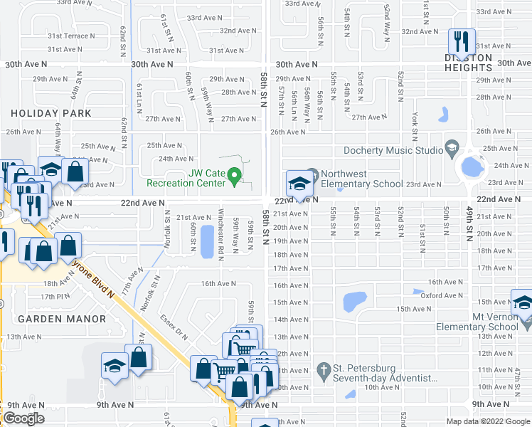 map of restaurants, bars, coffee shops, grocery stores, and more near 7401 21st Avenue North in Saint Petersburg