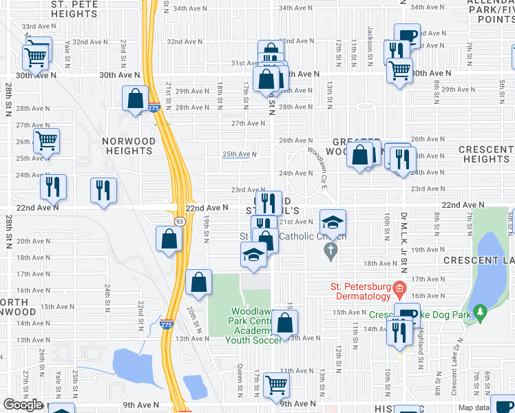 map of restaurants, bars, coffee shops, grocery stores, and more near 1636 22nd Avenue North in Saint Petersburg