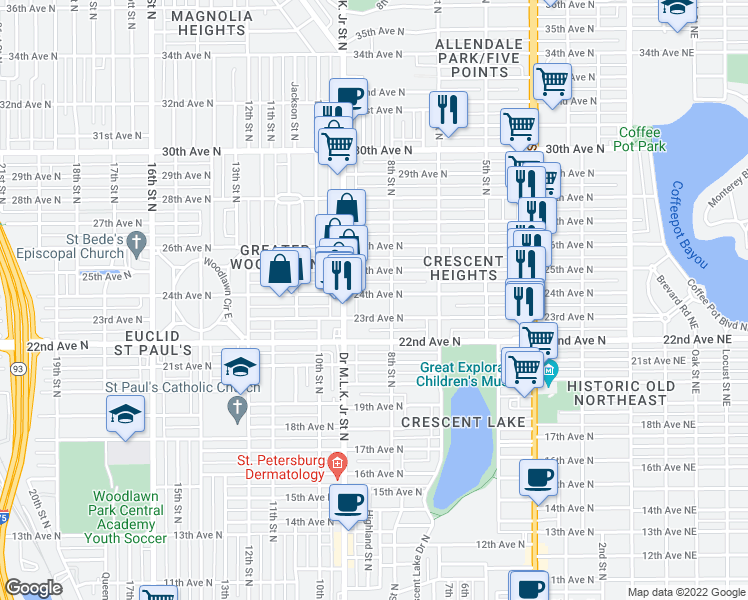 map of restaurants, bars, coffee shops, grocery stores, and more near 836 24th Avenue North in Saint Petersburg