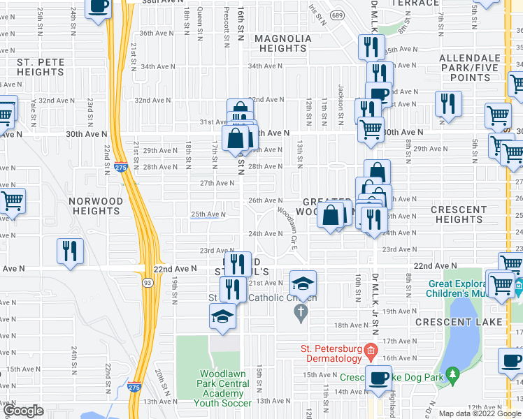 map of restaurants, bars, coffee shops, grocery stores, and more near 2450 Woodlawn Circle West in Saint Petersburg