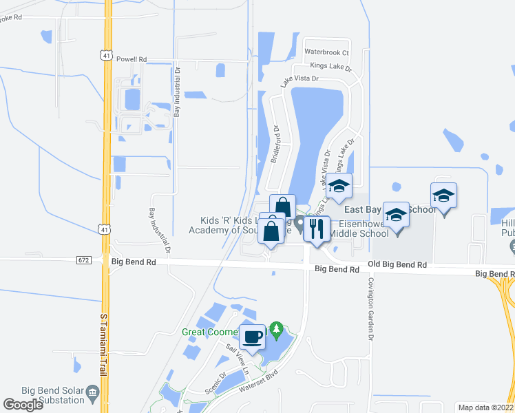 map of restaurants, bars, coffee shops, grocery stores, and more near 12911 Kings Crossing Drive in Gibsonton