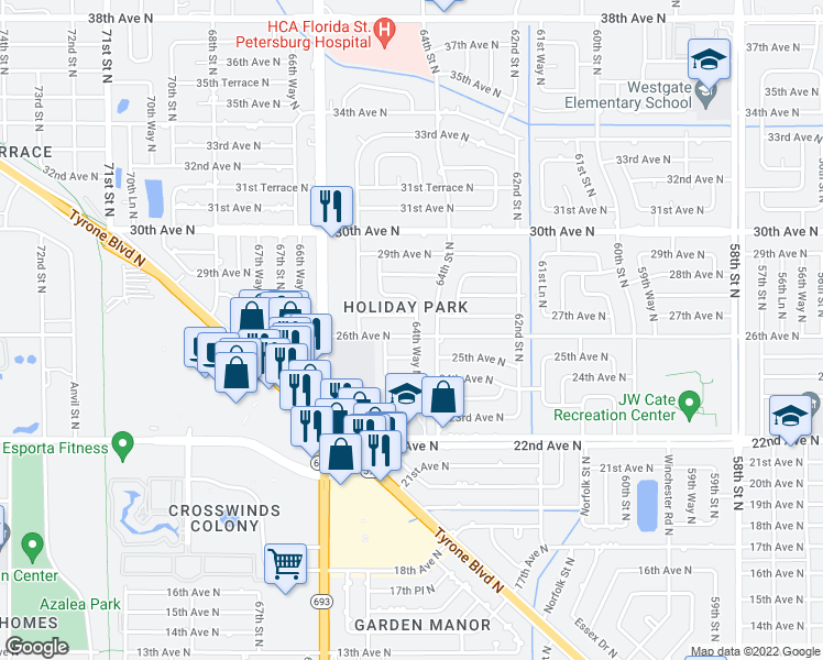 map of restaurants, bars, coffee shops, grocery stores, and more near 6447 26th Avenue North in St. Petersburg