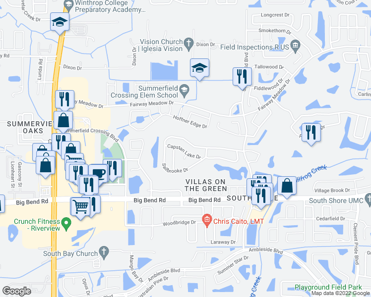 map of restaurants, bars, coffee shops, grocery stores, and more near 10818 Capstan Lake Drive in Riverview