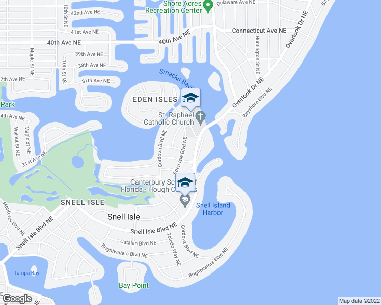 map of restaurants, bars, coffee shops, grocery stores, and more near 1326 Snell Isle Boulevard Northeast in Saint Petersburg