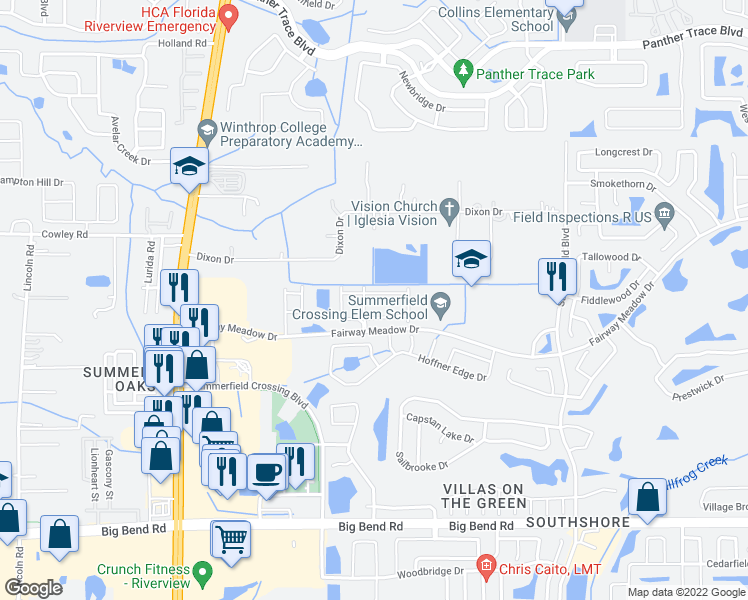 map of restaurants, bars, coffee shops, grocery stores, and more near 10909 Brickside Court in Riverview