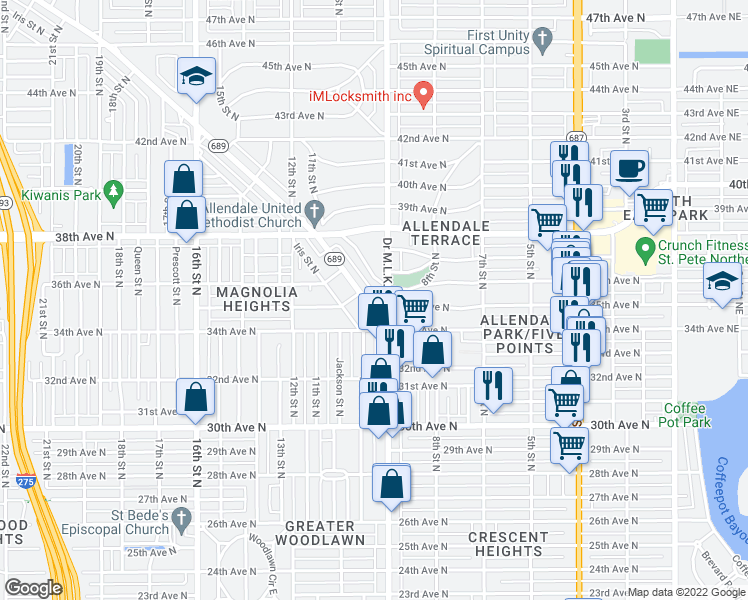 map of restaurants, bars, coffee shops, grocery stores, and more near 3510 Doctor Martin Luther King Junior Street North in Saint Petersburg