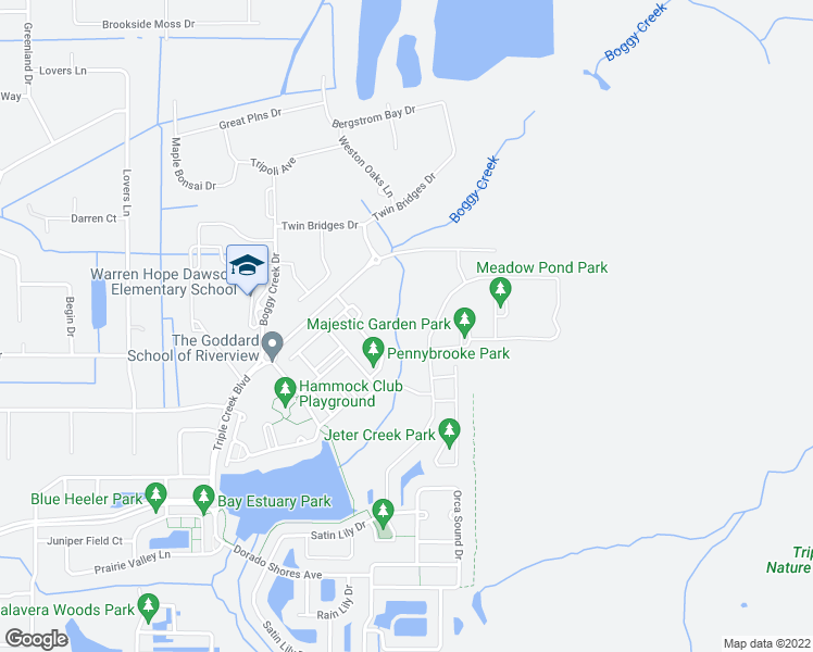 map of restaurants, bars, coffee shops, grocery stores, and more near Big Bend Road in Riverview