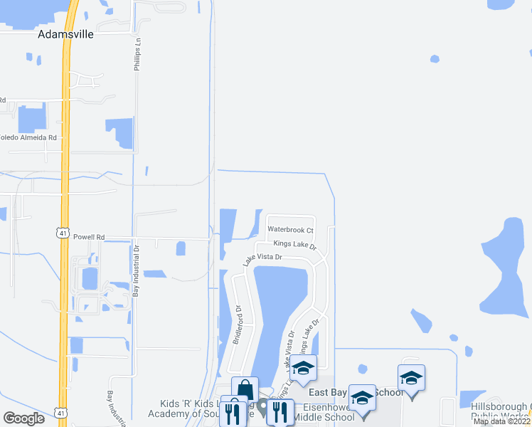 map of restaurants, bars, coffee shops, grocery stores, and more near 6912 Crown Lake Drive in Gibsonton