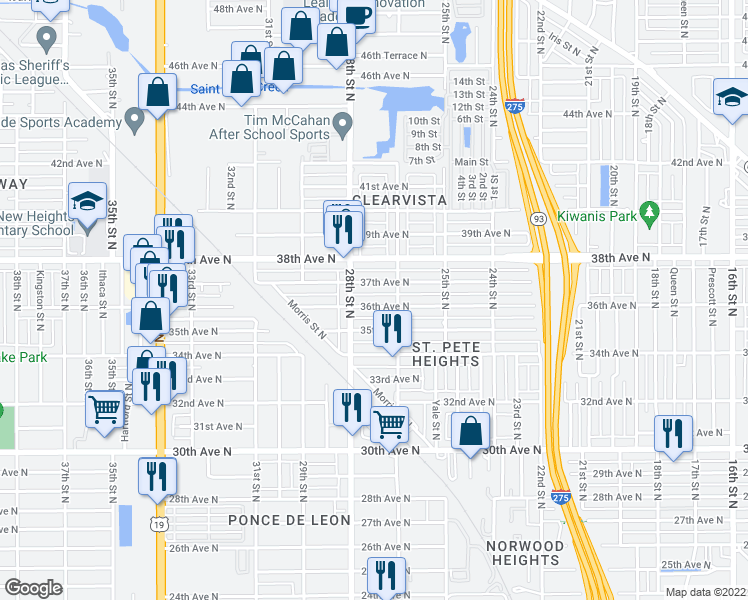 map of restaurants, bars, coffee shops, grocery stores, and more near 2734 37th Avenue North in Saint Petersburg
