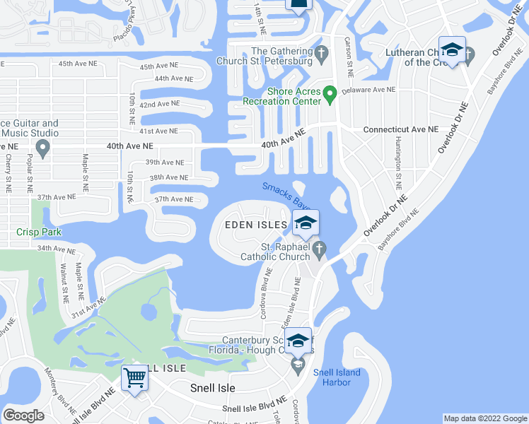 map of restaurants, bars, coffee shops, grocery stores, and more near 1515 Eden Isle Boulevard Northeast in Saint Petersburg