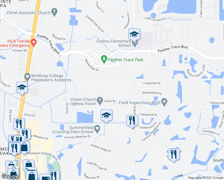 map of restaurants, bars, coffee shops, grocery stores, and more near 10904 Dixon Drive in Riverview