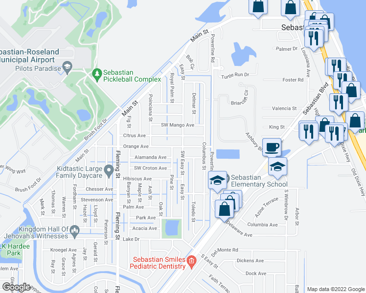 Map Of Sebastian Florida.300 Easy Street Sebastian Fl Walk Score