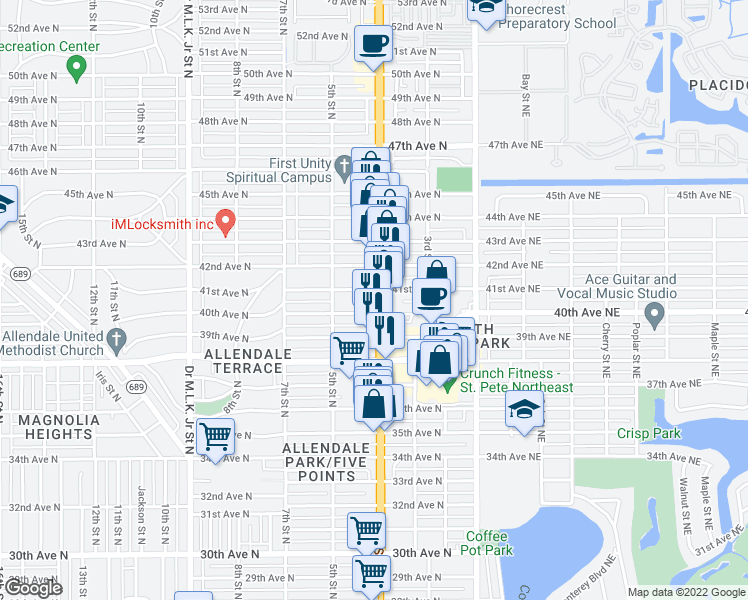 map of restaurants, bars, coffee shops, grocery stores, and more near 4050 4th Street North in Saint Petersburg