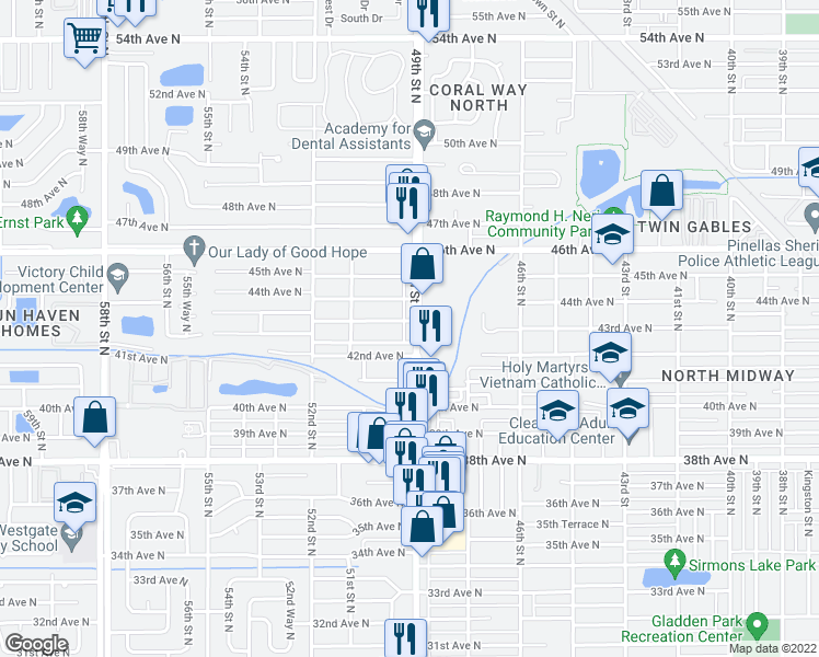 map of restaurants, bars, coffee shops, grocery stores, and more near 4260 49th Street North in St. Petersburg
