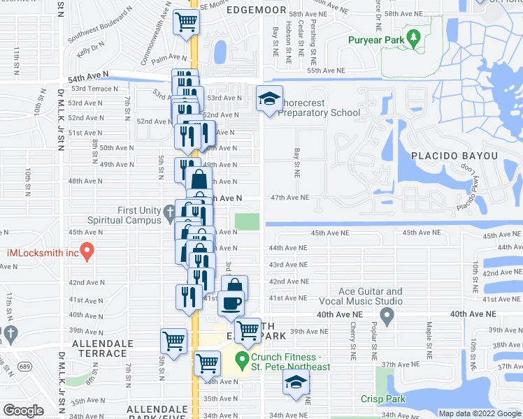 map of restaurants, bars, coffee shops, grocery stores, and more near 4618 1st Street North in St. Petersburg