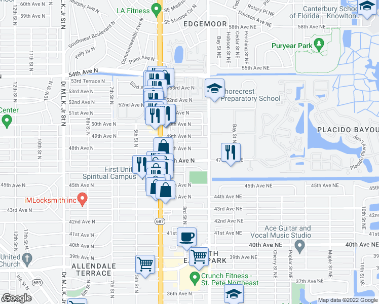 map of restaurants, bars, coffee shops, grocery stores, and more near 4801-4847 3rd Street North in Saint Petersburg