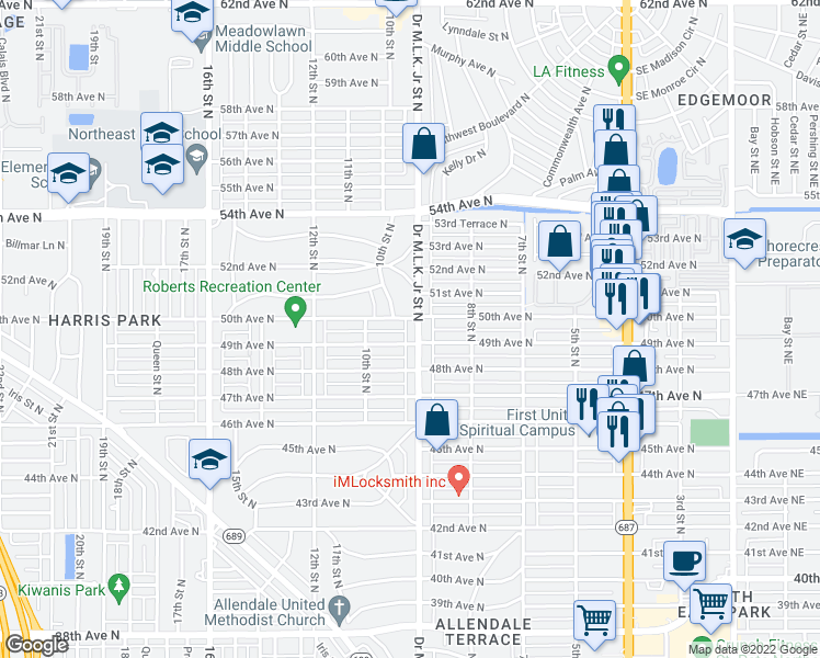 map of restaurants, bars, coffee shops, grocery stores, and more near 4926 Doctor Martin Luther King Junior Street North in Saint Petersburg