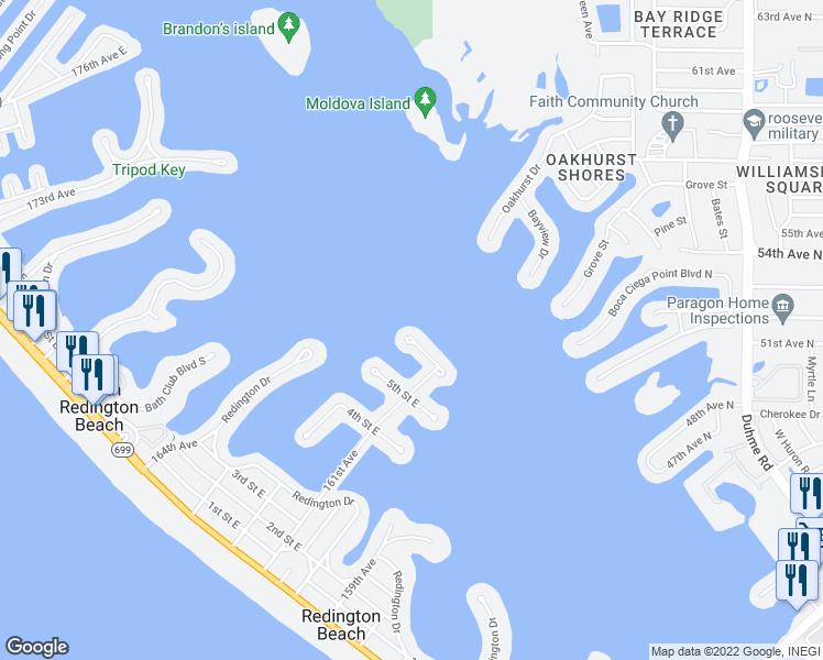 map of restaurants, bars, coffee shops, grocery stores, and more near 16119 6th Street East in Redington Beach