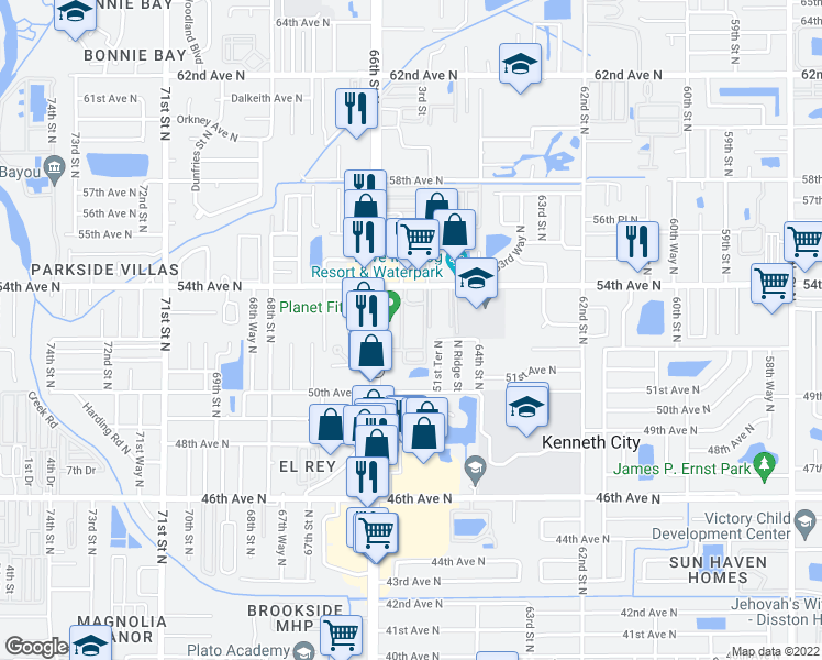 map of restaurants, bars, coffee shops, grocery stores, and more near 6522 54th Avenue North in St. Petersburg