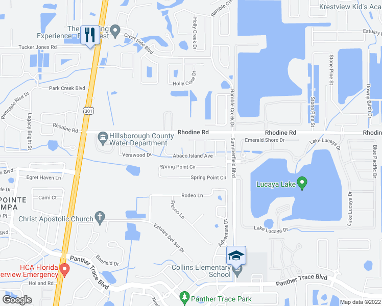 map of restaurants, bars, coffee shops, grocery stores, and more near 11150 Abaco Island Avenue in Riverview