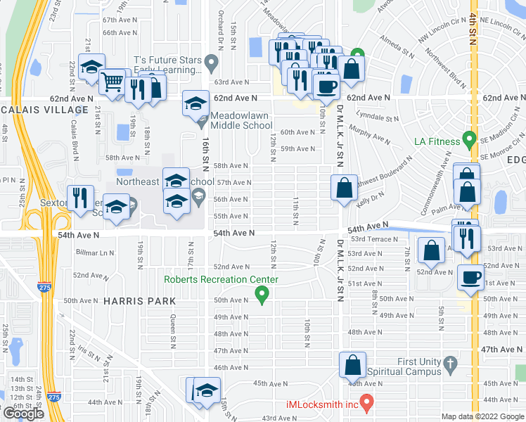 map of restaurants, bars, coffee shops, grocery stores, and more near 1228 55th Avenue North in Saint Petersburg
