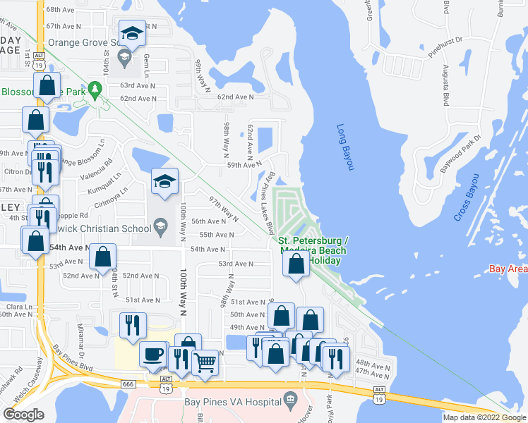 map of restaurants, bars, coffee shops, grocery stores, and more near Bay Pines Lakes Boulevard in Bay Pines