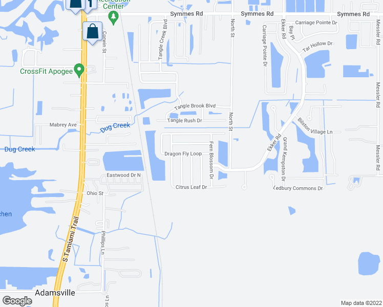 map of restaurants, bars, coffee shops, grocery stores, and more near Dragon Fly Loop in Gibsonton