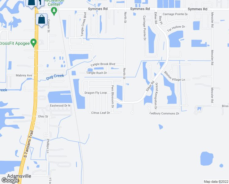 map of restaurants, bars, coffee shops, grocery stores, and more near 12010 Fern Blossom Drive in Gibsonton