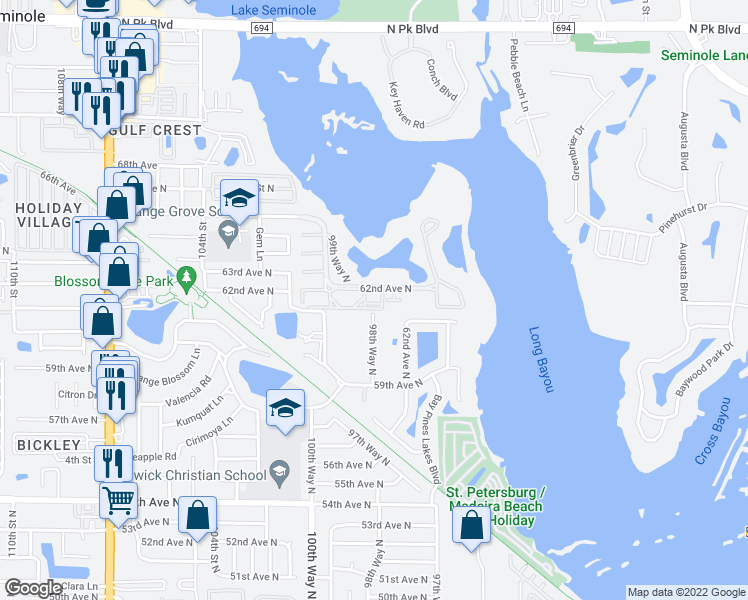 map of restaurants, bars, coffee shops, grocery stores, and more near 9860 62nd Terrace North in Saint Petersburg