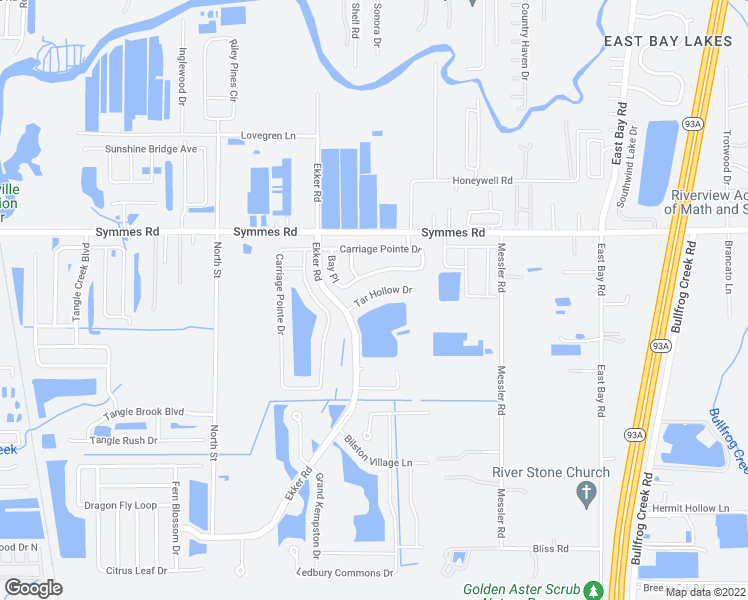 map of restaurants, bars, coffee shops, grocery stores, and more near 8115 Tar Hollow Drive in Gibsonton
