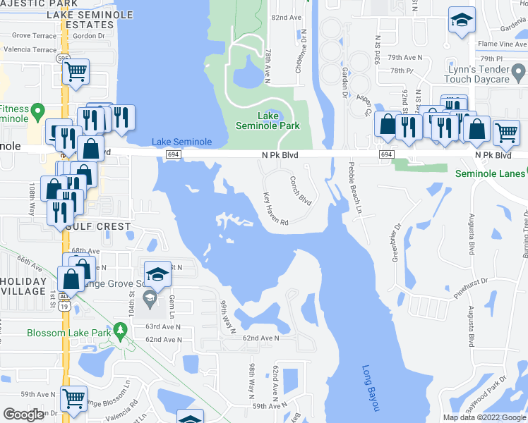 map of restaurants, bars, coffee shops, grocery stores, and more near 7040 Key Haven Road in Seminole