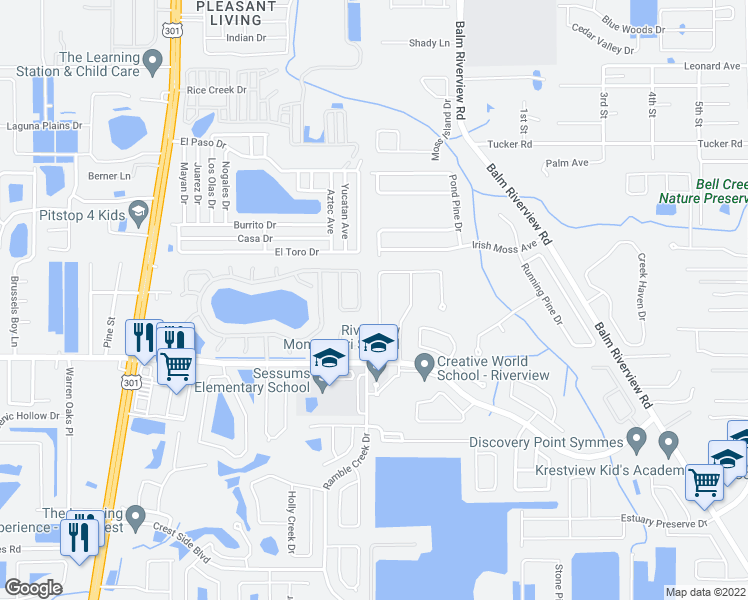 map of restaurants, bars, coffee shops, grocery stores, and more near 11343 Cocoa Beach Drive in Riverview