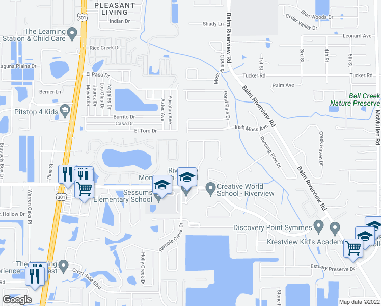 map of restaurants, bars, coffee shops, grocery stores, and more near 11340 Cocoa Beach Drive in Riverview