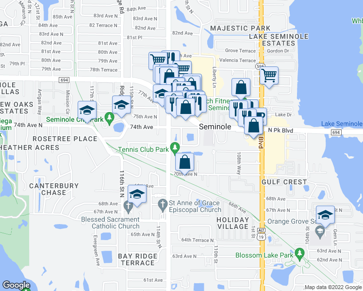 map of restaurants, bars, coffee shops, grocery stores, and more near 73rd Avenue North in Seminole