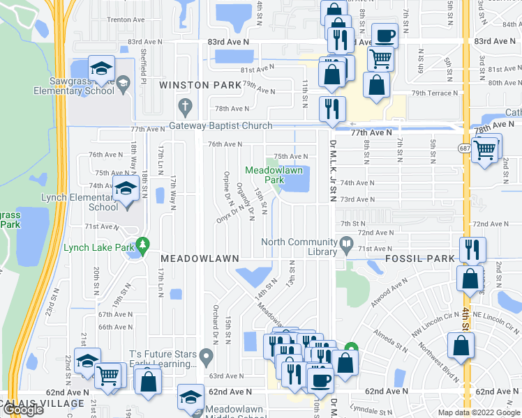 map of restaurants, bars, coffee shops, grocery stores, and more near 7248 15th Street North in Saint Petersburg