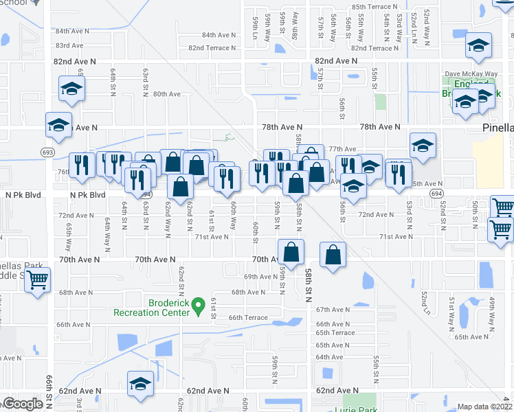 map of restaurants, bars, coffee shops, grocery stores, and more near 7295 60th Street in Pinellas Park