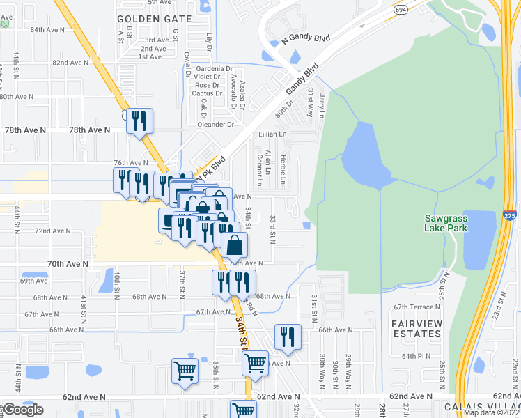 map of restaurants, bars, coffee shops, grocery stores, and more near 7311 Cedar Court in St. Petersburg