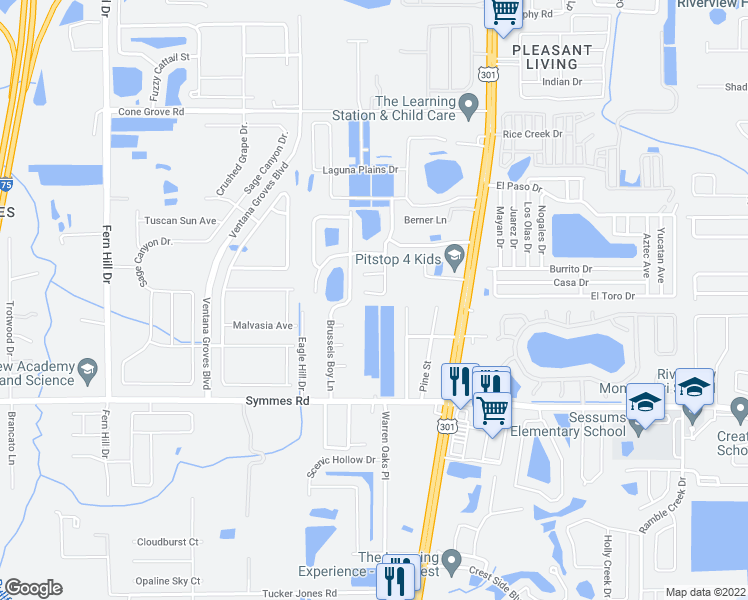 map of restaurants, bars, coffee shops, grocery stores, and more near 11140 Rising Mist Boulevard in Riverview